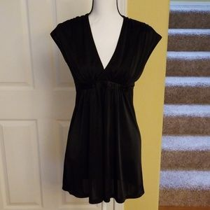 EXPRESS BLACK BEADED RUCHED TOP, SIZE S